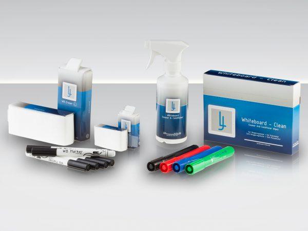 Whiteboard kit med rengöring, pennor och sudd